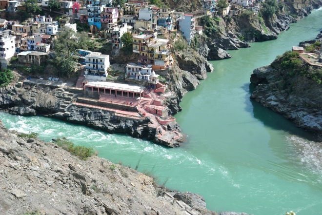 Sangam of Alaknanda and Mandakini in Rudraprayag, Uttarakhand